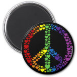 Rainbow Hearts Peace Sign Magnet