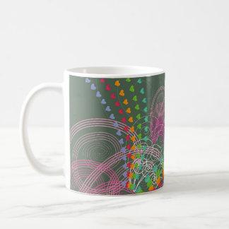 Rainbow Hearts Pink Swirls Coffee Mug