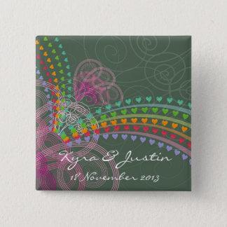 Rainbow Hearts Pink Swirls Colorful Wedding Button