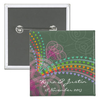Rainbow Hearts Pink Swirls Save-the-Date / Gift 2 Inch Square Button