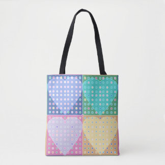 Rainbow hearts quilt squares tote bag