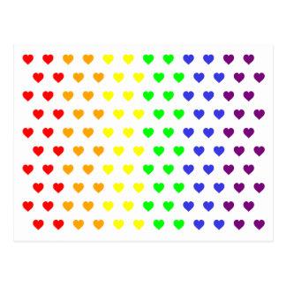 Rainbow Hearts Save The Date Postcard
