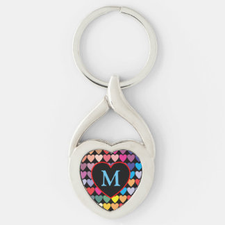 Rainbow Hearts Silver-Colored Twisted Heart Keychain