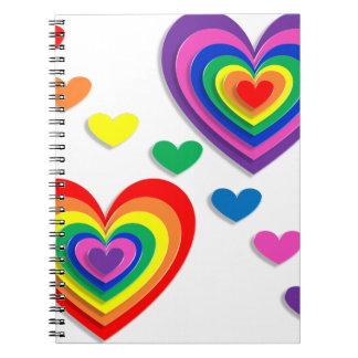 Rainbow Hearts Spiral Notebooks