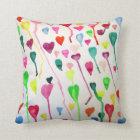 Rainbow hearts watercolour art pillow