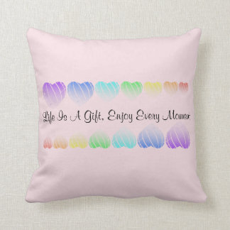 Rainbow hearts with positive words throw pillow