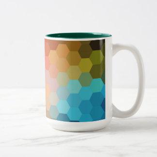 Rainbow Hexagon Chevron Pattern Two-Tone Coffee Mug