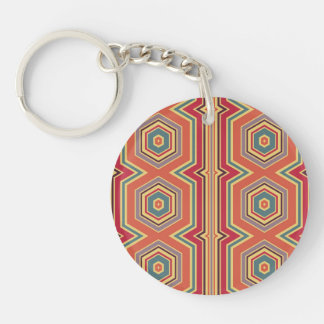Rainbow Hexagon Pattern Double-Sided Round Acrylic Keychain