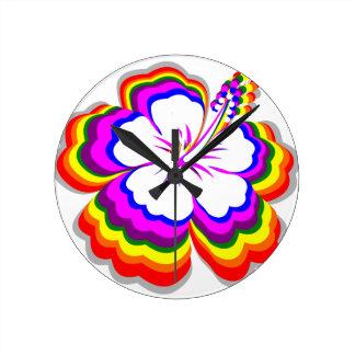 Rainbow Hibiscus design Round Clock