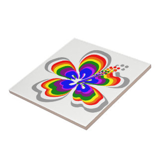 Rainbow Hibiscus Hawaii Theme Ceramic Tile