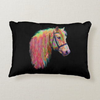 Rainbow Highland cow and pony, customize me! Decorative Pillow