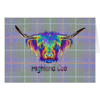 Rainbow Highland cow on a tartan background Card
