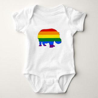Rainbow Hippopotamus Baby Bodysuit