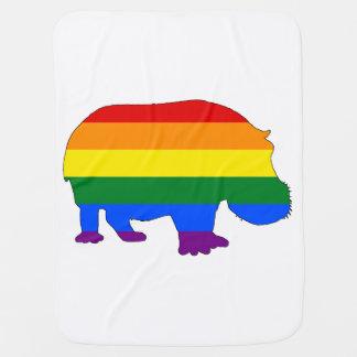 Rainbow Hippopotamus Receiving Blankets