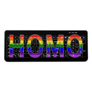 Rainbow Homo Text Art Gay Pride on Custom Color Wireless Keyboard