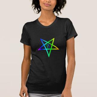Rainbow Homosexual Female Inverted Pentagram T-Shirt