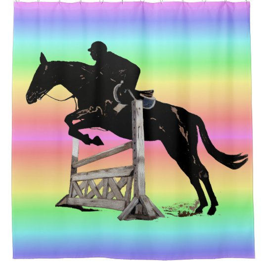 Rainbow Horse Jumping Shower Curtain