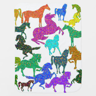 "Rainbow Horses - ""Dotty about Horses!"" Baby Blanket"