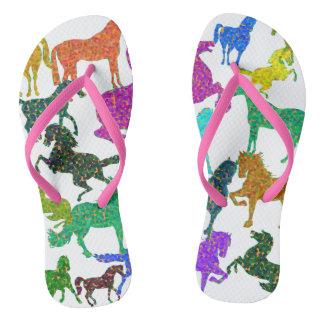 """Rainbow Horses - """"Dotty about Horses!"""" Flip Flops"""