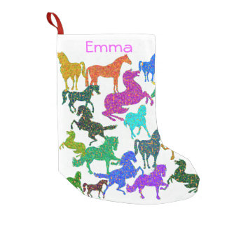 "Rainbow Horses - ""Dotty about Horses!"" Small Christmas Stocking"