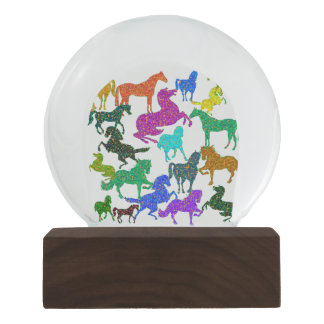 "Rainbow Horses - ""Dotty about Horses!"" Snow Globe"