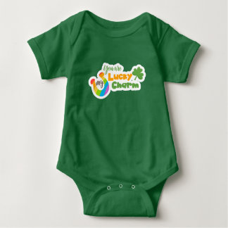 Rainbow Horseshoe clover St Patricks Day Baby Bodysuit