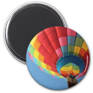 Rainbow Hot Air Balloon with Basket 2 Inch Round Magnet