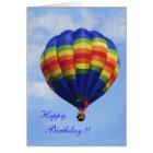 Rainbow Hot Air Ballooning birthday card