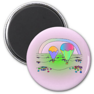 Rainbow Hot Air Balloons 2 Inch Round Magnet