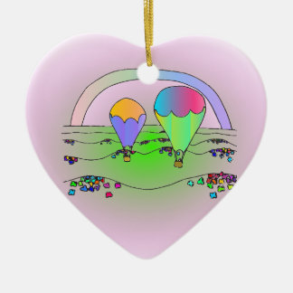 Rainbow Hot Air Balloons Ceramic Ornament