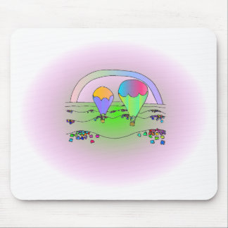 Rainbow Hot Air Balloons Mouse Pad