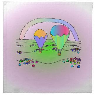 Rainbow Hot Air Balloons Napkin