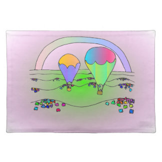 Rainbow Hot Air Balloons Placemat