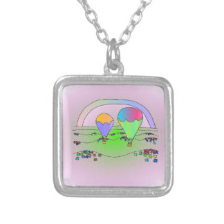 Rainbow Hot Air Balloons Silver Plated Necklace