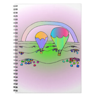 Rainbow Hot Air Balloons Spiral Note Book