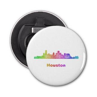 Rainbow Houston skyline Button Bottle Opener