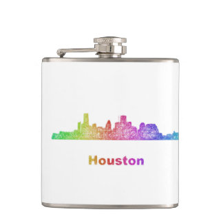 Rainbow Houston skyline Flask