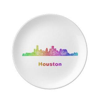 Rainbow Houston skyline Porcelain Plate