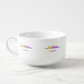 Rainbow Houston skyline Soup Bowl With Handle