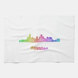 Rainbow Houston skyline Towels