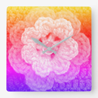 Rainbow Hues Yellow Pink Purple Crochet Print on Square Wall Clock