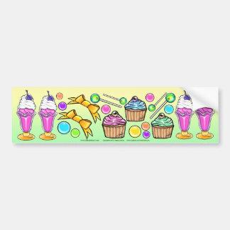 Rainbow Ice Cream Sundae Cup Cake Candy Party Bumper Sticker