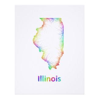 Rainbow Illinois map Custom Letterhead