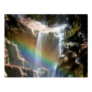 Rainbow in a waterfall postcard
