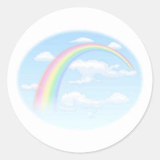 Rainbow in Blue Sky Classic Round Sticker