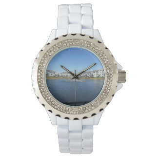 Rainbow in H2O Custom Rhinestone White Enamal Watches