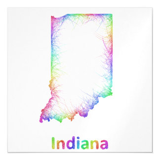 Rainbow Indiana map Magnetic Invitations