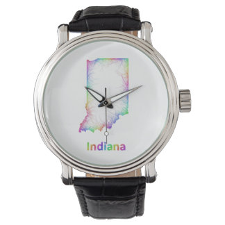 Rainbow Indiana map Watches