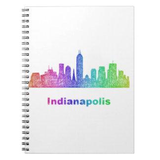 Rainbow Indianapolis skyline Spiral Notebook