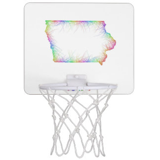 Rainbow Iowa map Mini Basketball Backboard